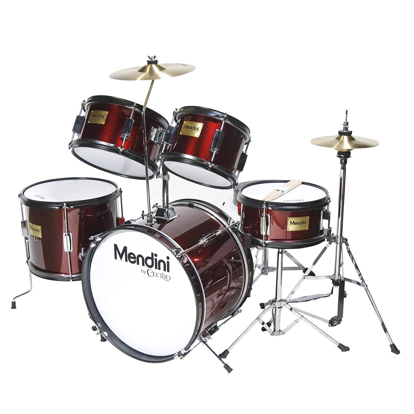 Mendini by Cecilio 16 inch 5-Piece Complete Kids / Junior Drum Set with Adjustable Throne, Cymbal, Pedal & Drumsticks, Metallic Wine Red, MJDS-5-WR