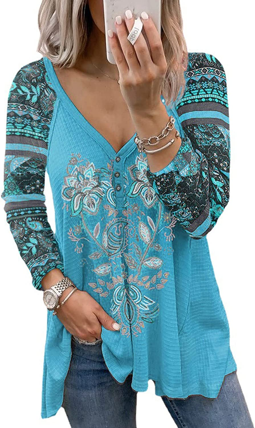 Women Tops Boho Floral Print V-Neck Long Sleeve Loose Casual Fashion Flowy Blouses Soft Comfy Pullover