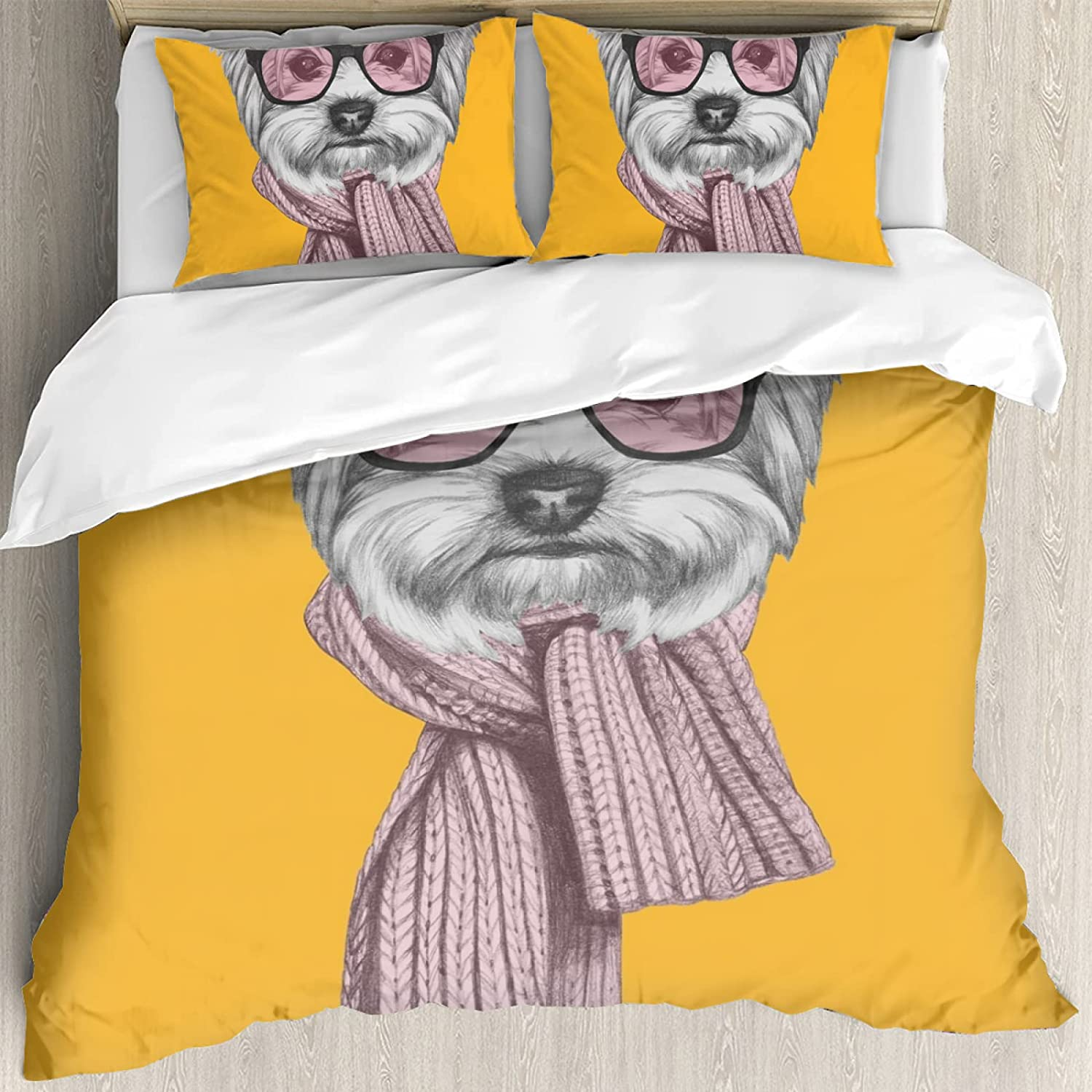 3 Pieces of Bedding Set Portrait Yorkshire G At the price Terrier New popularity with Dog