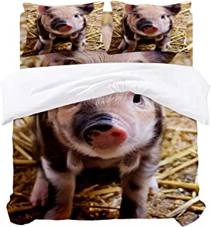 Family Decor Pig Bedding Duvet Cover 4 Piece Set, Cute Pig Farm Animal Image, Hypoallergenic Microfiber Comforter Cover Bedspread and 2 Pillow Cases - Queen