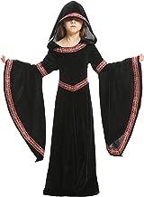 زي تريمور للأطفال والبنات في العصور الوسطى عصر النهضة التنكرية للهالوين مع قلنسوة 4-12T