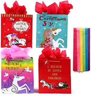Unicorn Christmas Glitter Large Gift Bags Set of 4 with Tissue Paper