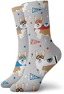 Calcetines de algodón acolchados para entrenamiento, senderismo, senderismo, deportes, para hombres y mujeres - Corgi Superhero 2