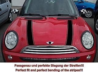 Streifen Stripes Aufkleber Motorhaube für R50 R52 Mini Cooper (Schwarz, Design 2)