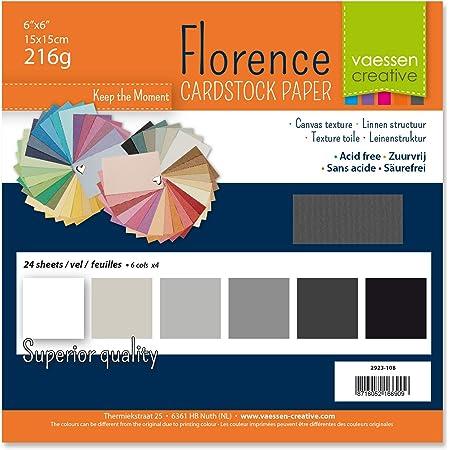 Vaessen creative 2923-108 Florence Papier Cartonné, Couleurs Blanc et Noir, 216g, 12,5 x 12,5 cm, 60 Feuilles, Surface Texturée, pour Peindre, Scrapbooking et Plus, Multi