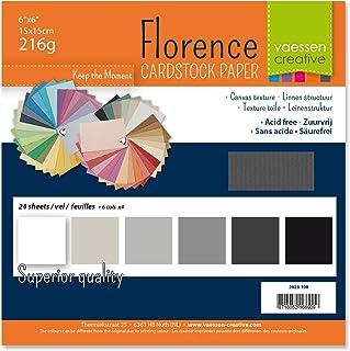Vaessen creative 2923-108 Florence Papier Cartonné, Couleurs Blanc et Noir, 216g, 12,5 x 12,5 cm, 60 Feuilles, Surface Tex...