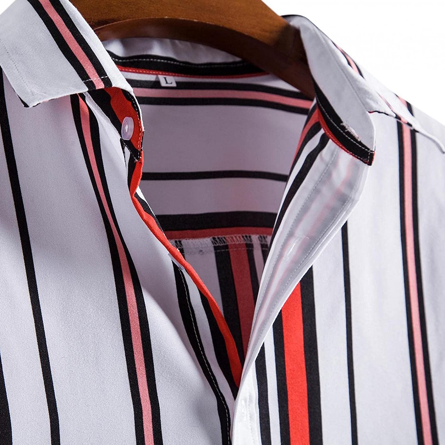 Huangse Casual Button Down Henley Shirts For Men Summer Short Sleeve T-Shirt Striped Loose Fit Top Tees