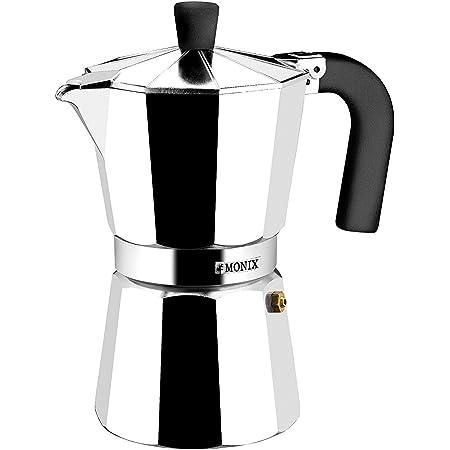 Monix Vitro Express-Cafetera, Apta para Todo Tipo de encimeras, Excepto inducción, Aluminio, Plata, 3 tazas