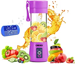 Portable Blender, OBERLY Smoothie Juicer Cup - Six Blades in 3D, 13oz Fruit Mixing Machine with 2000mAh USB Rechargeable B...