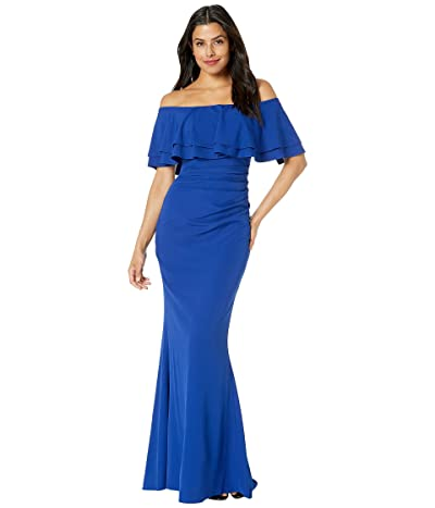 Vince Camuto Off the Shoulder Gown with Two Layer Ruffle Collar (Royal) Women