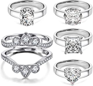 5 PCS Rings for One Bridal Set - 18K White Gold Plated Ring Enhancer Guard Sent with Heart Round Square Oval Cubic Zirconia Rings