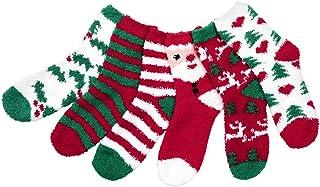 CHIC DIARY ソックス クリスマス 靴下 ハイソックス コットン 少女 サンタクロース 厚手 可愛い 防寒 保温 抗菌防臭 柄 冬 おしゃれ セット プレゼント