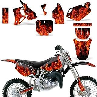 Wholesale Decals MX Dirt Bike Graphic Kit Sticker Decals Compatible with Honda CR 80 1996-2002 - CR80 Flames Orange