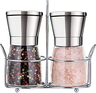 Premium Salt and Pepper Grinder Set with Stand Stainless Steel Manual Spice Adjustable..