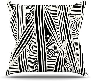 "KESS InHouse EO1005AOP03 18 x 18-Inch ""Emine Ortega Graphique Black"" Outdoor Throw Cushion - Multi-Colour"