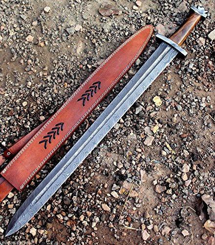 MOUNTAINFORGE Custom Damascus Steel/Sword/Dagger/Celtic Sword 32' Long Blood GROOVED GLADIOUS Sword Machete Hunting Sword