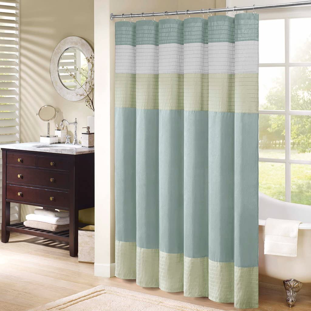 Madison Park excellence Amherst Bathroom Shower Mo Striped Faux Silk Cash special price Pieced