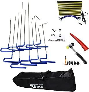 Furuix 29pcs Dent Repair Tools Dent Removal Tools PDR Kit Car Ding Dent Repair Rod Hook Wedge Paintless Hail Removal Tool Dent Remover Kit with LED PDR Light