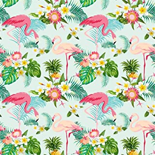 Leowefowa Vinyl Cartoon Pink Flamingo Backdrop 5X5FT Blooming Flowers Green Leaves Photography Background Kids Adults Party Decoration Wallpaper Photo Studio Props