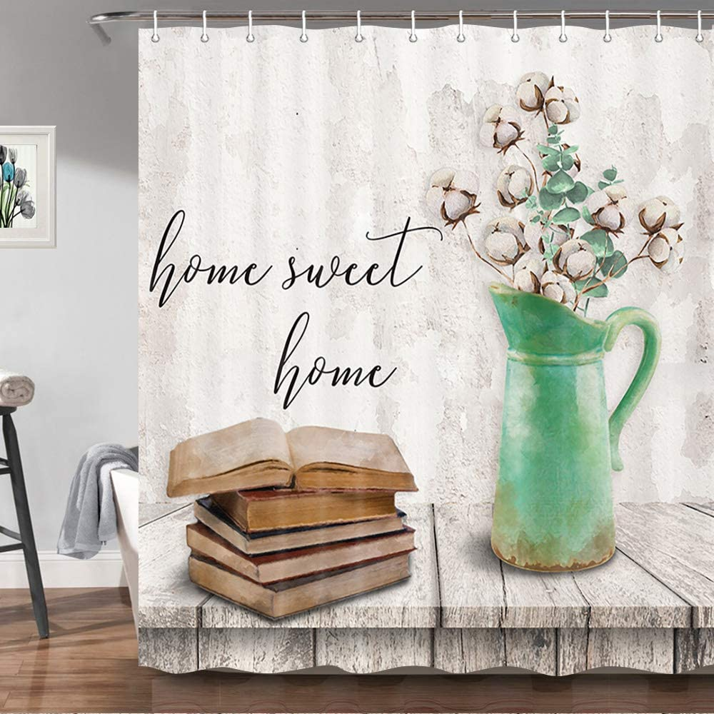 Farmhouse Shower Curtain, Cotton Flower On Rustic Wooden Plank Country Floral Shower Curtains for Bathroom, Sweet Home Chic Decor Fabric Bath Curtains with Hooks Set, 69X70 Inches Grey/Teal