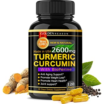 Turmeric Curcumin 2600mg, Immune Support, Joint Support, Promotes Natural Weight Loss, and Heart Health, with Bioperine (Black Pepper) 120 High Quality Veggie Capsules, Non GMO, Made in USA.