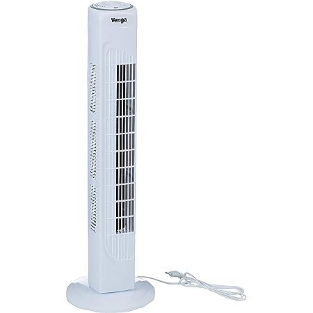 Venga! VG VT 3001 Ventilateur colonne oscillant à 3vitesses, 80cm, 45W, Blanc