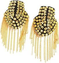 FENICAL Pair of Rivet Tassel Chain Epaulet Fashion Shoulder Boards Badge (Gold)