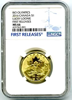 2016 Canada $1 Lucky Loonie RIO OLYMPICS Uncirculated FIRST RELEASES Dollar MS66 NGC