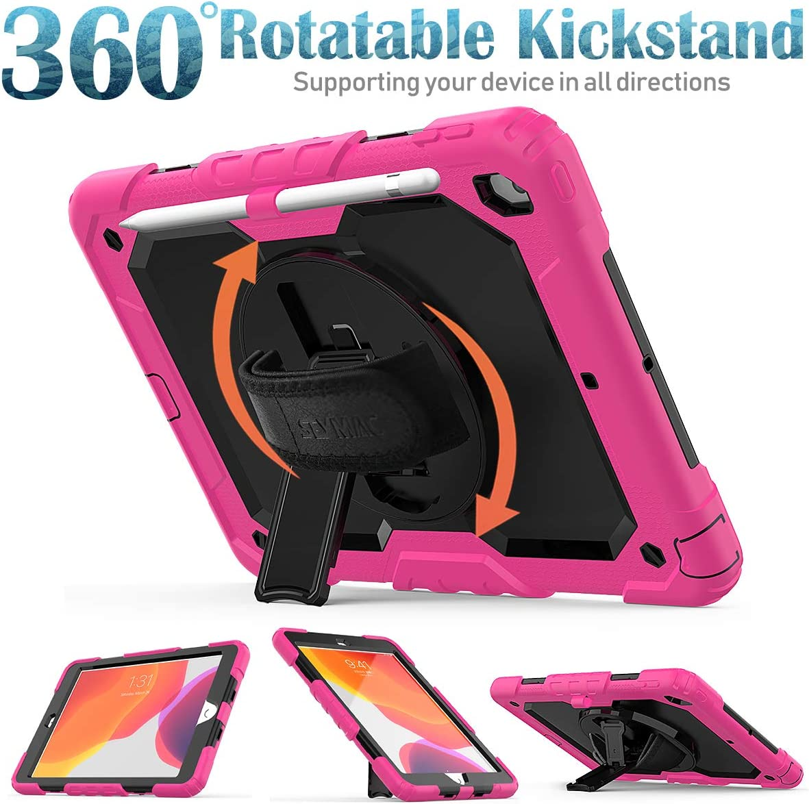 iPad 7th// 8th Generation Case with Screen Protector Shoulder Strap,Shockproof Cover with 360 Rotating Kickstand Hand Strap,Pencil Holder for iPad 10.2 Inch,Pink SEYMAC New iPad 10.2 Case 2020//2019