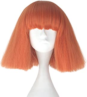 Miss U Hair Short Kinky Straight Taro Wig Women Fashion Party Hair Wig Black and Blonde Color (Orange)