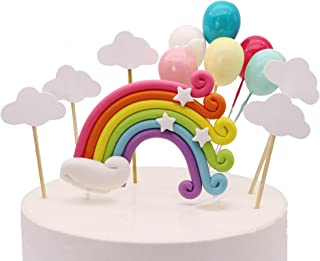 Colorful Rainbow Cake Topper Birthday Wedding Cake Flags Cloud Balloon cake flag Birthday Party Baking Decoration Supplies...