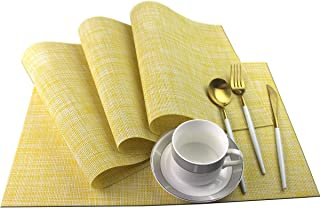 Bright Dream Placemats for Dinning Table Washable Heat Resistant 12x18 inches Woven Vinyl Table Mats Set of 4(Yellow)