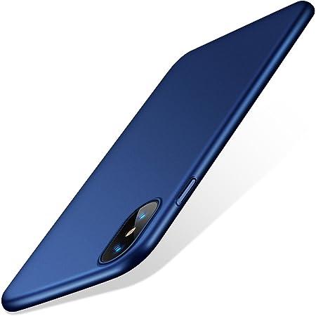 TORRAS iPhone Xs用 ケース/iPhone X用 ケース 5.8インチ 薄型 PC 指紋防止 黄ばみなし 擦り傷防止 ガラスフィルム付属 全面保護 耐衝撃カバー(ネイビーブルー)[ Wisdom Series]