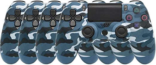 $79 » Ambllers with Light Bar 4th Generation PS4 Controller Wireless Bluetooth Artifact PS4 Game Handle 1 Pack (4 Blue Camo (Sno...