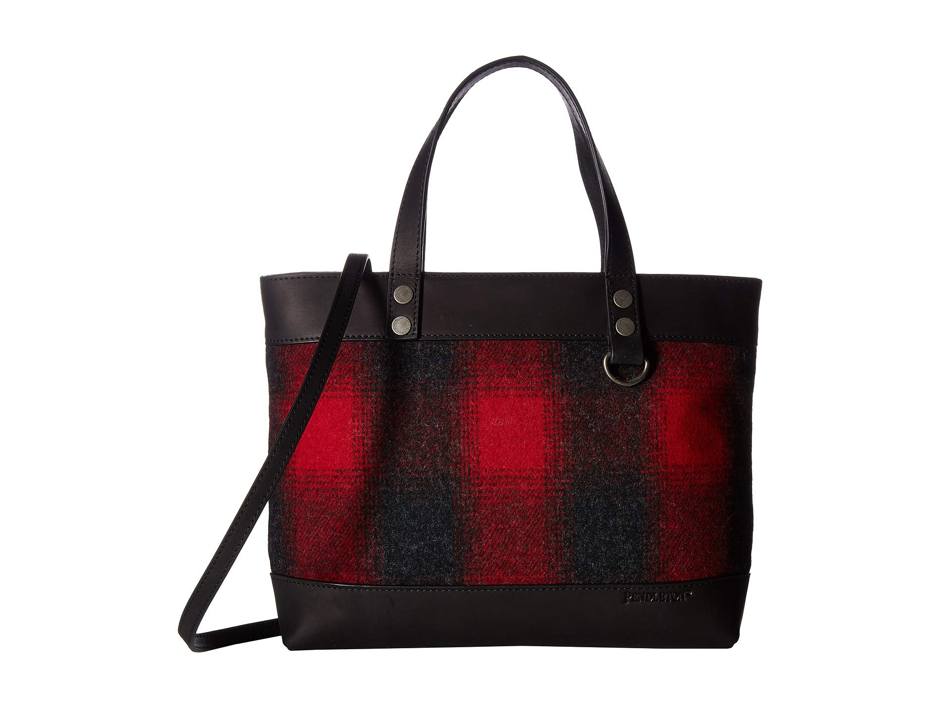 Pendleton Mix Ombre Tonal Red Bag Wool Buffalo With Check Strap charcoal rOrw0aqAv