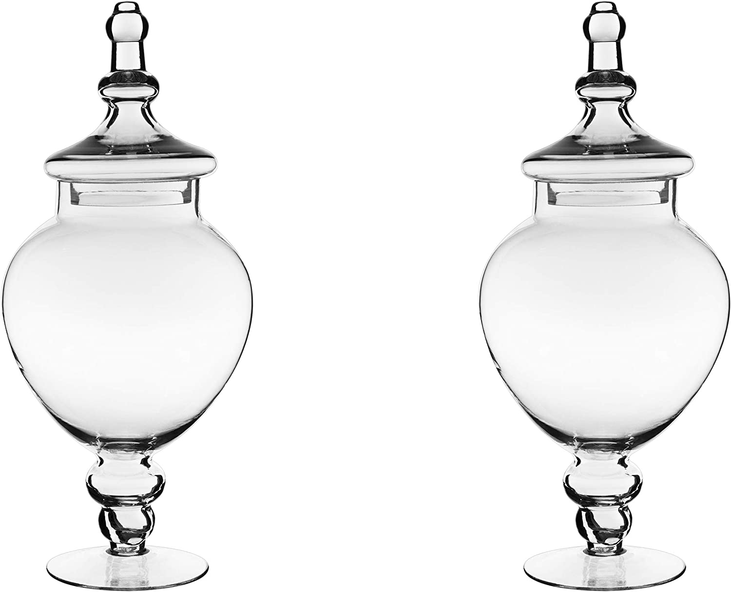 CYS EXCEL Apothecary Jars Pack of 2, Candy Buffet Display, Elegant Storage Jars, Wedding Candy Canisters -Series (1)