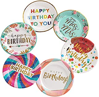 60 Pcs Happy Birthday Paper Plates, 7 Inch Disposable Paper Plates for Appetizers, Dessert, Party Supplies