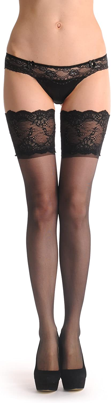 Black With Black Wide Lace Floral Garter 20 Den - Hold Ups
