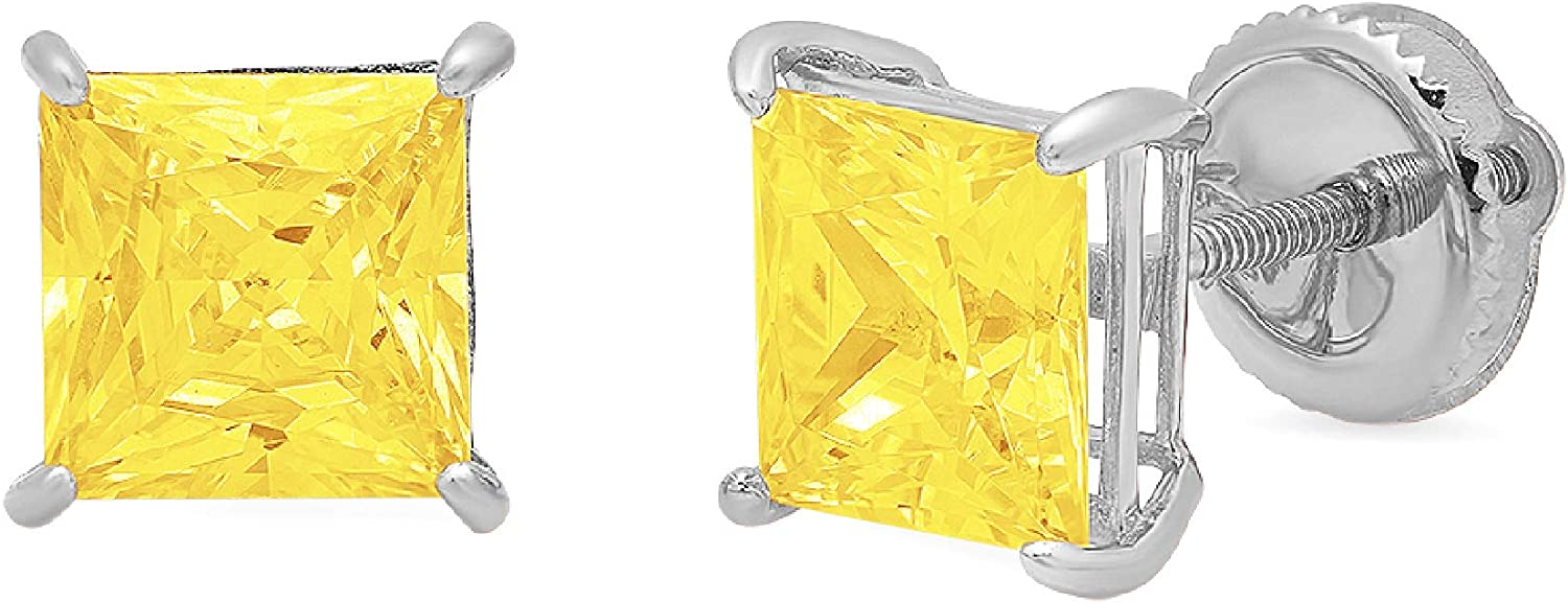 2.0 ct Princess Cut ideal VVS1 Conflict Free Gemstone Solitaire Canary Yellow CZ Designer Stud Earrings Solid 14k White Gold Screw Back