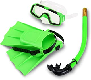 Yosoo Children Kids Swimming Diving Silicone Fins +Snorkel Scuba Eyeglasses + Mask Snorkel Silicone Set for 8-12.5 US Foot Size