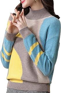 FOGUO Suéter De Cuello Alto para Mujer Cómodo Top Cálido Elegante Jersey De Lana De Tela Acolchado Adecuado para Exteriore...