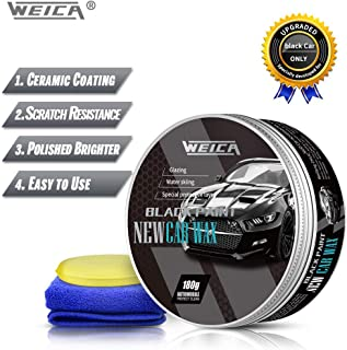 WEICA Black Car Wax Solid for Black Car Special Wax Scratch Resistance Auto Ceramics Coating 180g with Free Waxing Sponge and Towel-Black