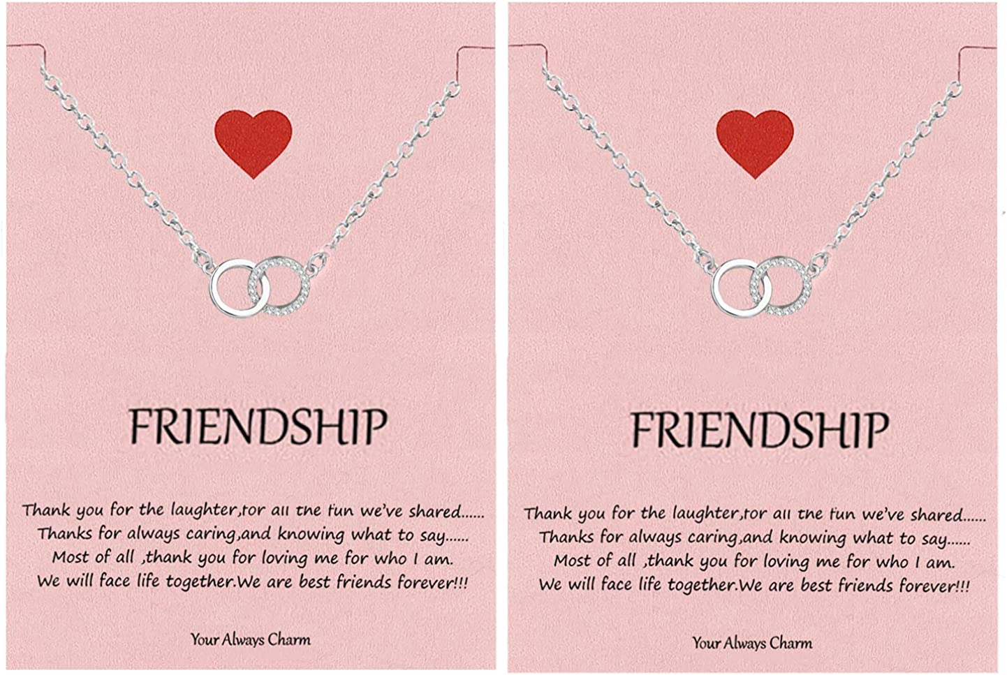 Your Always Charm Best Friend Necklace,Friendship Necklace for 2,Best Friend Jewelry Gifts