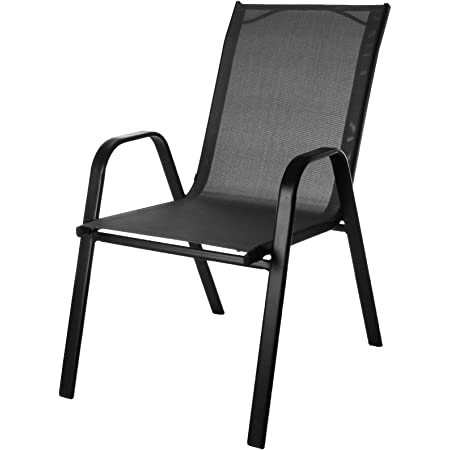 Marko Outdoor Stacking Textoline Chair Black Outdoor Bistro High Back Seating Restaurant Cafe (4 Chairs, Grey)