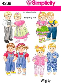 Simplicity 4268 Baby Doll Clothes Sewing Pattern for Baby Boy and Girl by Teri, Size 15''
