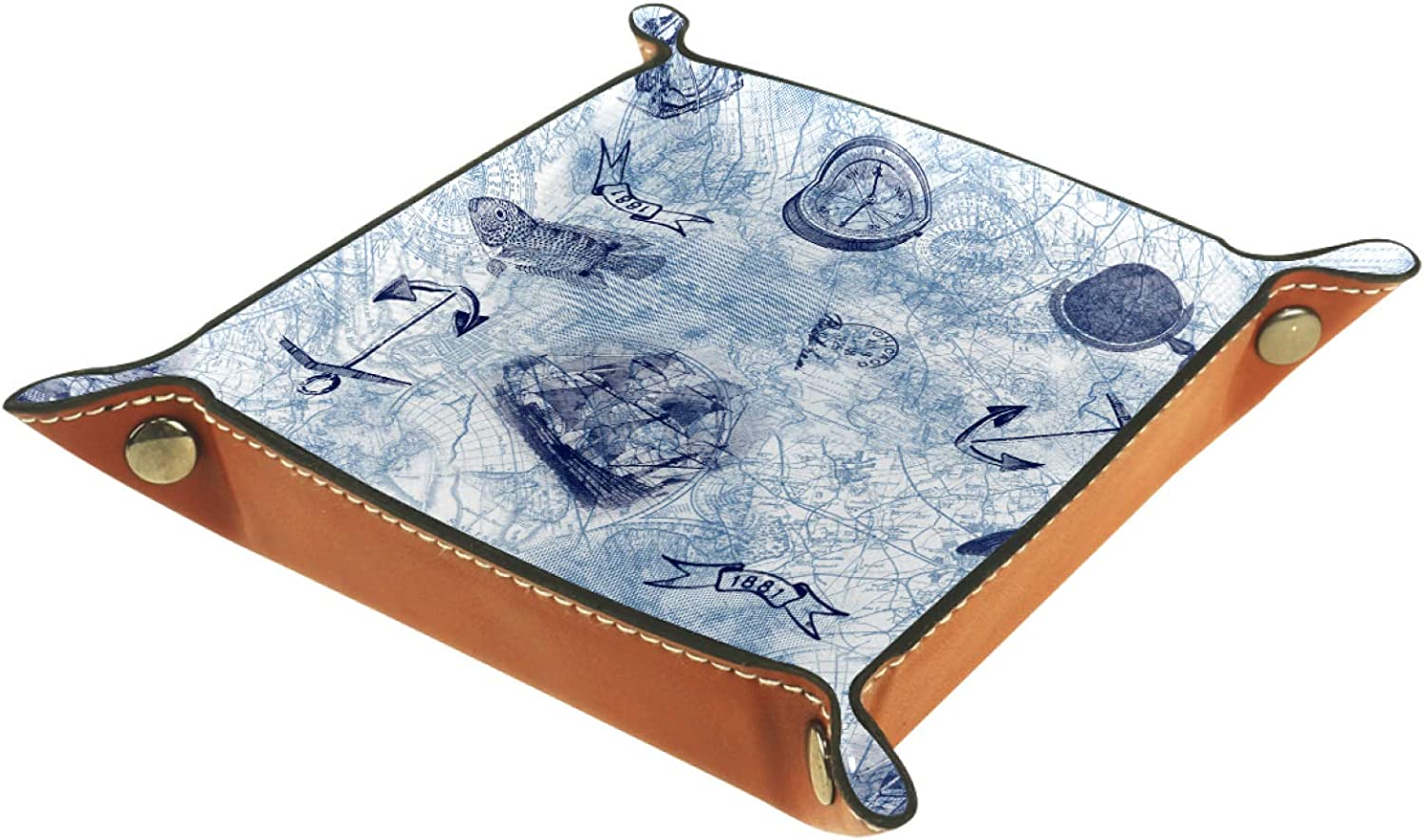 Small Storage Box Mens Valet Tray L Super special Lowest price challenge price Fish Vintage Anchor Nautical