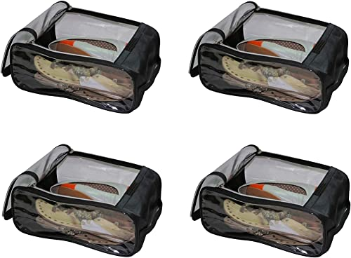 Fabric Shoe Cover Travelling Storage Bag Footwear Wardrobe Organizer Pouch Black Pack Of 4