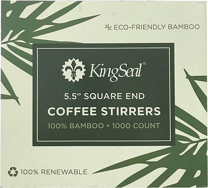 KingSeal Bamboo Coffee Stir Sticks 5 5 Inches Square End Stronger And Thicker Than Standard Wood 100 Renewable And Biodegradable 2 Boxes Of 1000 Stirrers 2 000pcs Total