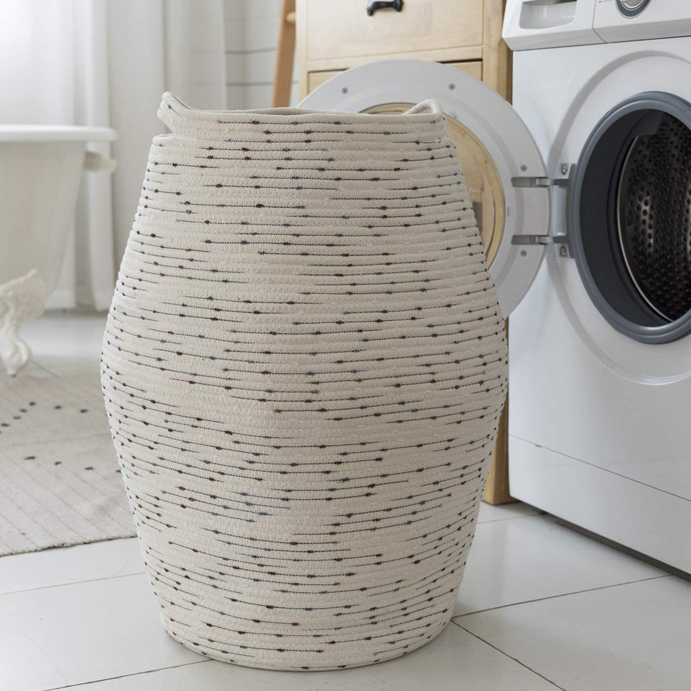 Jumbo Laundry Hamper for Living Room Bathroom Bedroom 24 Inch LA JOLIE MUSE Large Cotton Rope Storage Basket Organizer White Flaxen Patterned Tall Woven Basket