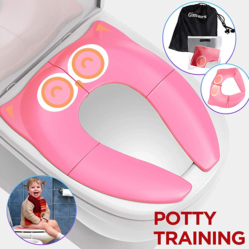 Gimars Upgrade Folding Large Non Slip Silicone Pads Travel Portable Reusable Toilet Potty Training Seat Covers Liners With Carry Bag For Babies Toddlers And Kids Pink